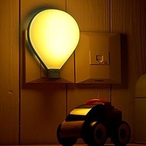 muid 热气球光声控小夜灯 led节能灯 创意床头壁灯 宝宝睡眠灯 (白色图片
