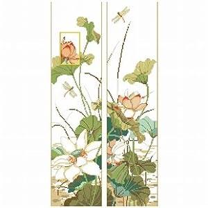 dmc 多美绣 大幅客厅卧室欧式花卉油画荷花对联 法国
