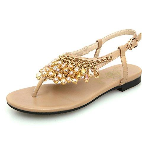 4新款波西米亚手工编织串珠凉鞋黑色裸色杏色女鞋子