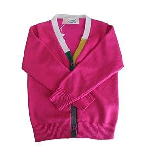 儿童毛衣针织衫中童纯色全棉潮外套 90cm(90码建议身高130cm) 梅红