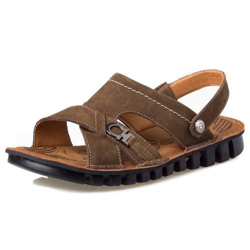 Camel 骆驼 时尚舒适头层牛皮 型男个性百搭款 清爽透气运动凉鞋休闲鞋 真皮男鞋 户外沙滩鞋拖鞋