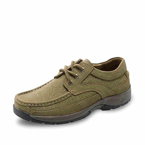 木林森 男鞋 户外运动系带透气真牛皮休闲鞋软皮男鞋