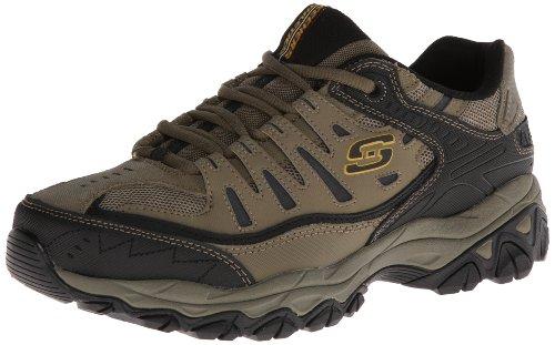 Skechers Sport Men's Afterburn Memory Foam Lace-Up Sneaker,Pebble/Black,9.5 4E US