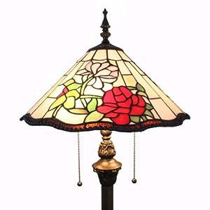 传统田园风格蒂凡尼灯具欧式玫瑰系列落地灯伞形结构