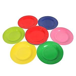 大贸商 彩色纸盘 一次性碟子 diy手工材料 儿童美劳 24个