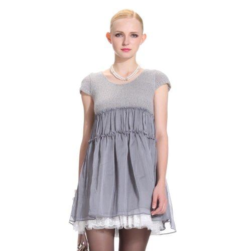 ochirly 欧时力 女式 蕾丝边加厚羊毛雪纺短袖连衣裙 1114080150040