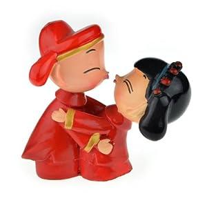 宾琪 正品 超萌 树脂 结婚礼品 可爱新婚小人 欲亲吻姿势 (小号)