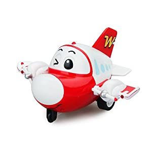 云奇飞行日记玩具惯性飞机 声光音乐飞机 惯性车回力车卡通飞机 (红色