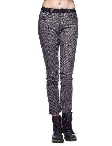 艾格旗下 ES 艾格运动 女式 细格纹休闲拼接长裤 12032019695