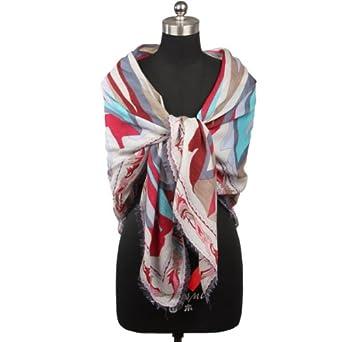 南歌子 丝羊毛女士围巾 空调披肩 长围巾波纹抽象涟漪
