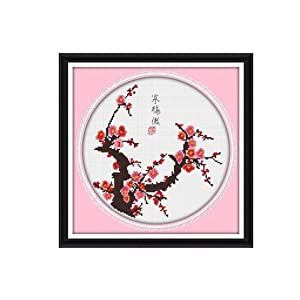 恋美印布十字绣 36228寒梅傲 (图案印在布上无需画格) 中格 11CT