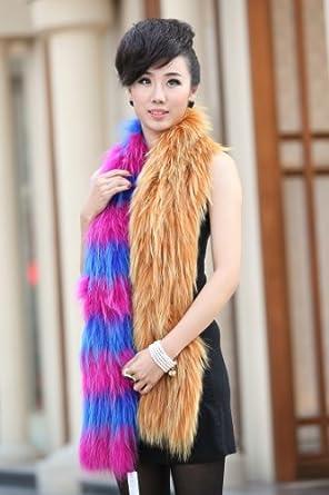 亚洲貂 秋冬狐狸多彩编织优雅女士高档皮草围巾