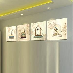 欧式壁画 田园风格花鸟家居无框装饰画酒店