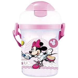 Disney 迪士尼 米妮翻蓋硬吸管塑料兒童學生水壺 WDMN-491粉色