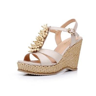 夏季坡跟波西米亚凉鞋女
