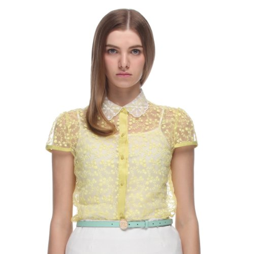 Five Plus 女式 透视欧根纱绣花短袖衬衫 2132012140024