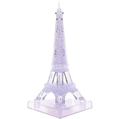 3d立体水晶拼图巴黎埃菲尔铁塔创意diy礼品led带灯节