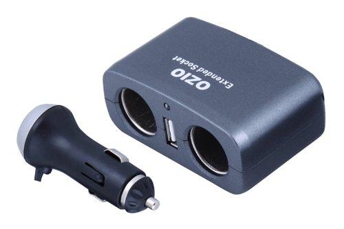 OZIO奥舒尔 一分二点烟器插座 自带USB接口 EF21 本身又是充电器 可同时解决三个充电问题 适用于手机 数码相机 游戏机 MP3和MP4等数码产品-图片