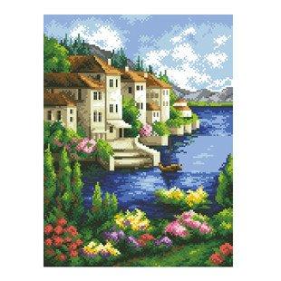 dmc 多美绣 大幅客厅卧室欧式风景油画海边城堡 法国