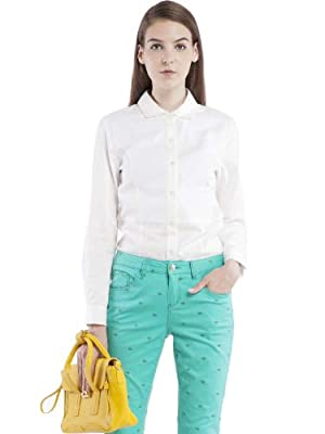 lily 欧式复古系列简洁百搭公主摆白衬衫 女式 本白 m