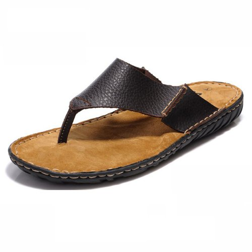 Z.SUO 走索 人字拖鞋凉鞋休闲男式人字拖 牛皮夹脚拖鞋 男士沙滩凉拖鞋