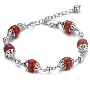 Lux-women-中国红系列天然5A级红玛瑙手链-红袖添香