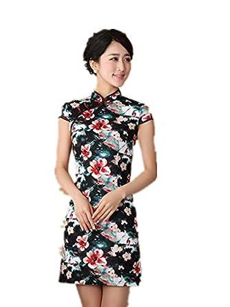 嘉彦姿 新款亚麻棉手绘中式改良旗袍 民国风中式旗袍连衣裙 日常夏装