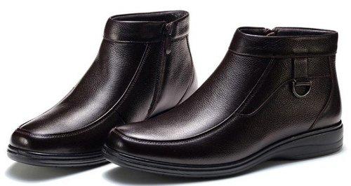 FGN 富贵鸟 休闲真皮仿鹿男鞋商务正装加绒保暖透气套脚皮鞋
