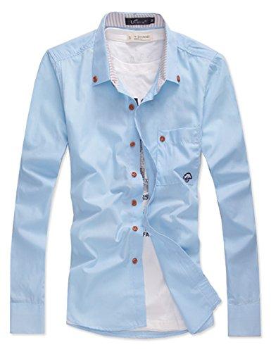 UYUK 有衣有靠 男士长袖衬衣 蘑菇头长袖 韩版修身 休闲衬衫 男装衬衫 6556