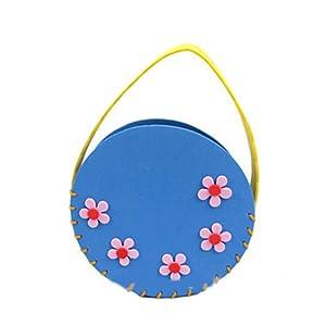幼儿园手工缝制立体贴画益智手工卡通图案可爱包包蓝色(圆形)116004