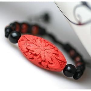 健祥 原创民族风手工编织红玛瑙漆雕中国红手链