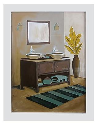 郅美居手绘立体玻璃画实木框北欧风绿植毛巾浴缸洗漱台单镜31*24cm