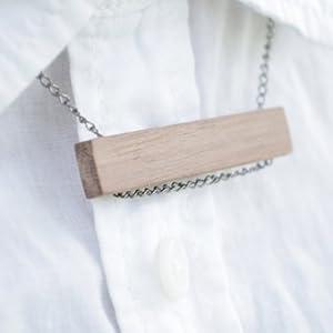 美奇网 黑胡桃木-木头印记项链