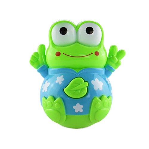 儿童玩具  超可爱婴幼儿玩具青蛙音乐灯光摇摆不倒翁 (绿色青蛙)-图片