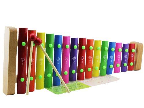凯烨玩具 15音手敲木琴 儿童音乐玩具 铝片琴 打击乐器 带琴谱