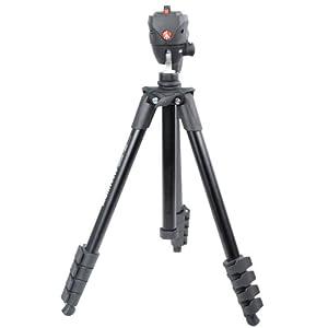 manfrotto曼富图 MKC3-H01 紧凑铝合金三脚架5节+摄影/摄像云台套装(黑/快装板 承重:1.5kg )