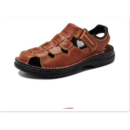 Z.SUO 走索 夏季新款男鞋 男士正牛皮休闲凉鞋棕色802