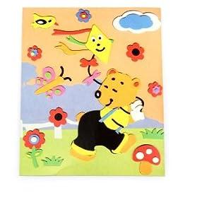 小熊放风筝-儿童手工立体粘贴画图片