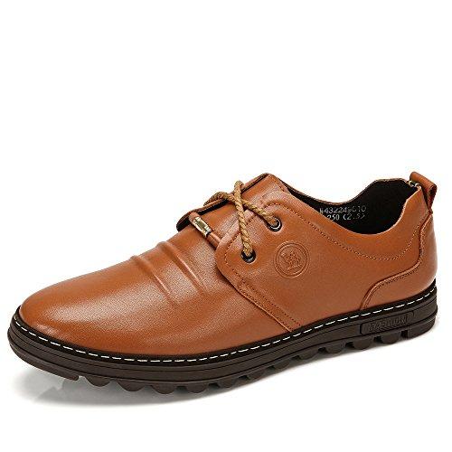 骆驼牌 新品 头层牛皮日常休闲皮鞋男 圆头耐磨男士鞋子 W432249010