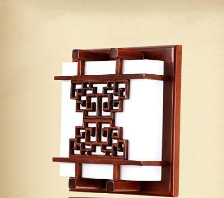 holed 欧尼迪 led中式实木雕花壁灯客厅卧室走廊过道床头仿古灯具9002