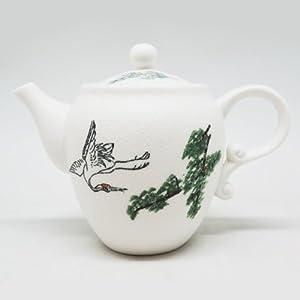 福久久家瓷 精品12头手绘白雪金仙鹤陶瓷茶具套装