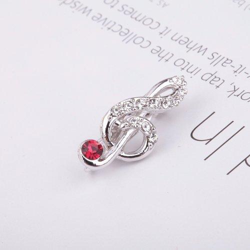 绘莉善 高音谱号胸针 时尚可爱 闺蜜生日礼物 多色 韩国进口 红色 银