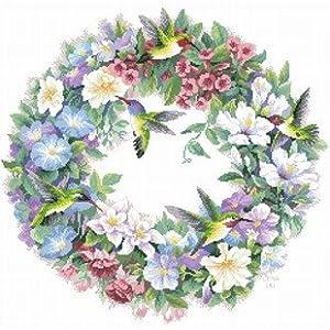 dmc 多美绣 大幅客厅卧室欧式花卉油画鸟与花环 法国