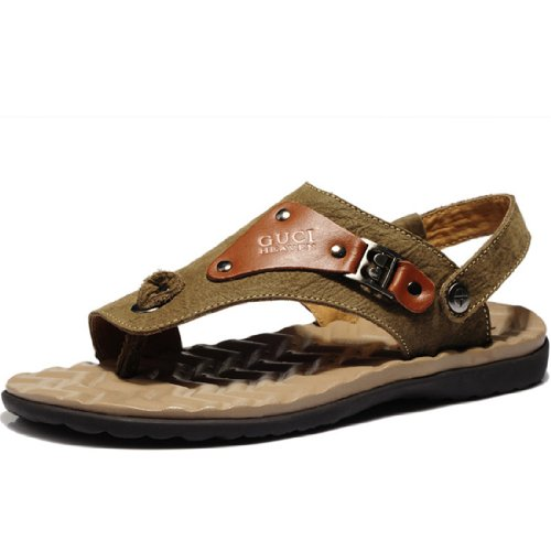 Guciheaven 古奇天伦 2014新款头层牛皮男鞋低帮休闲鞋英伦沙滩鞋凉鞋556驼色44