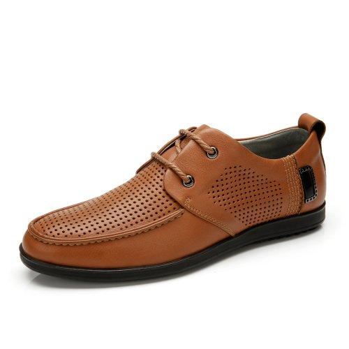 Camel 骆驼 男鞋 夏季新款时尚舒适男士流行鞋 简约真皮头层牛皮 休闲皮鞋 A412136020