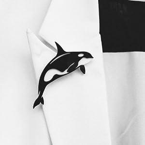"""美奇网 """"海豚""""黑白配简约胸针"""