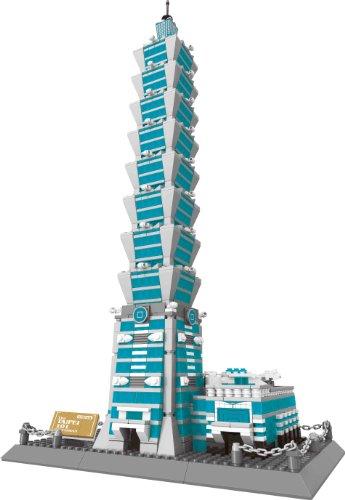 万格 儿童益智小颗粒积木 著名建筑系列之台北101大楼