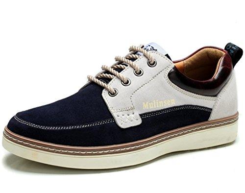 MULINSEN 木林森 男士英伦系带复古板鞋 真皮反绒牛皮板鞋 时尚低帮韩版潮鞋单鞋 潮流休闲鞋 男鞋子