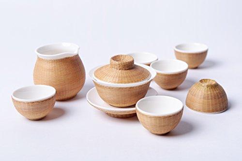 刘氏竹编 八头素编白瓷简约盖碗 创意手工竹丝扣瓷茶壶茶杯公道杯 瓷