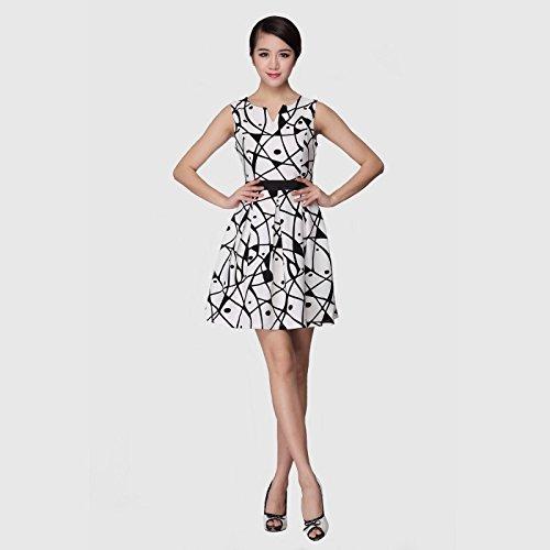 菲佛仙乐斯 原创设计夏装几何图案印花修身无袖连衣裙女士裙子